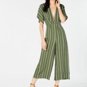 SADIE & SAGE Short Sleeve Striped Cropped Jumpsuit